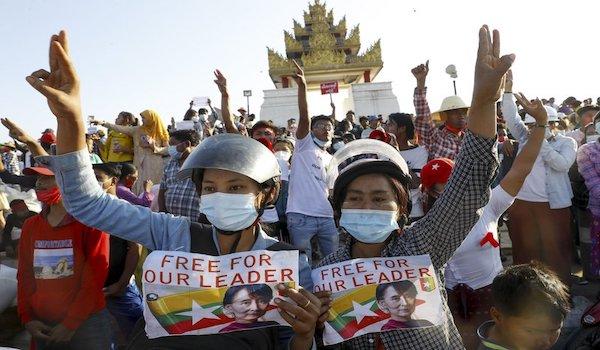 Burmese Myanmar burma coup protest