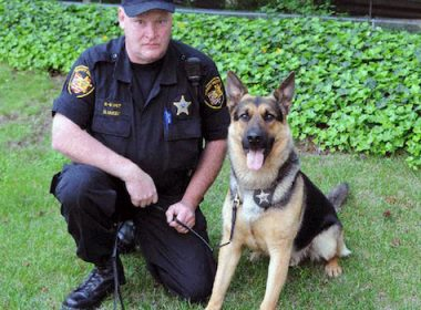k-9 police dog drown blek