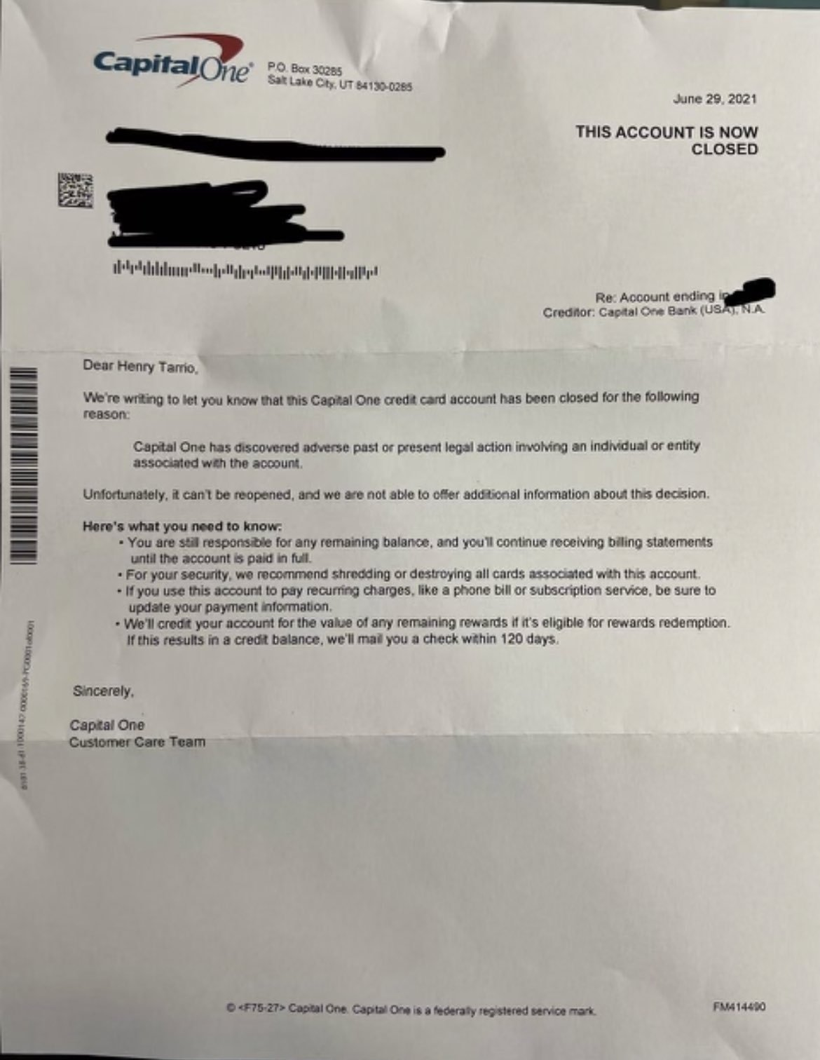 Credit Card Company Letter